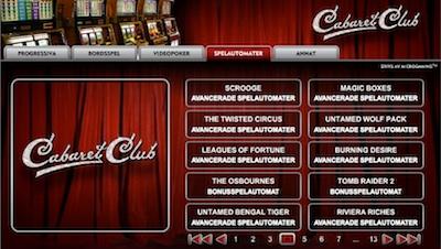 Cabaret Club spelutbud