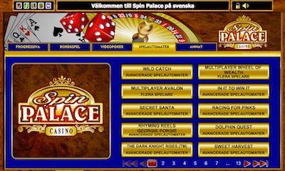 Spin Palace spelutbud