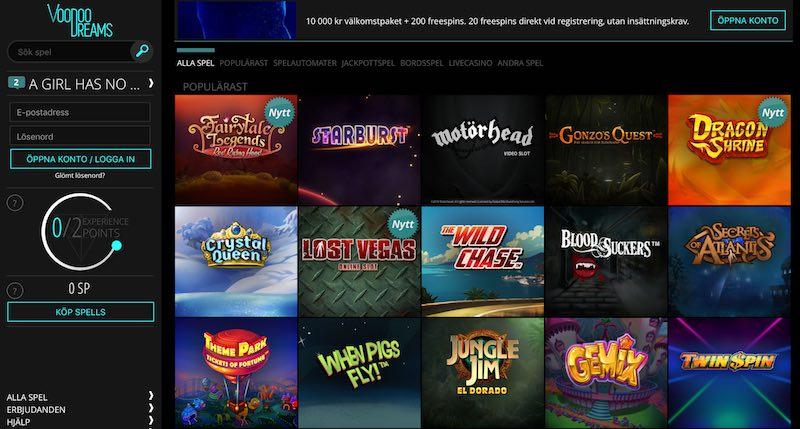 voodoodreams svenskt casino